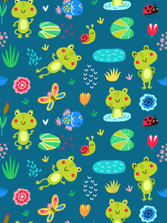 Seamless pattern with frogs Foto de archivo - 108293827