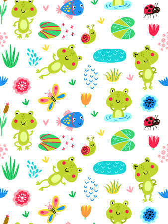 Seamless pattern with frogs