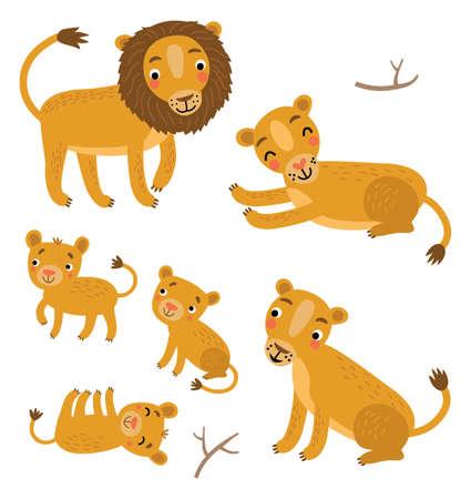 Conjunto de vector de familia de leones Ilustración de vector