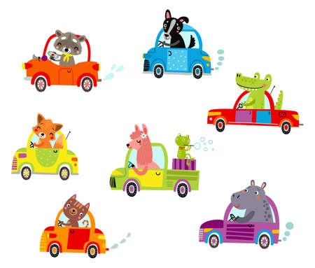 Animales en los coches Ilustración de vector