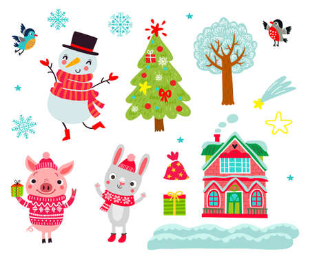 Christmas animals set characters