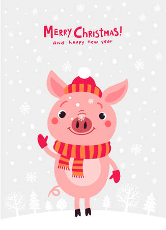 Christmas card with pig