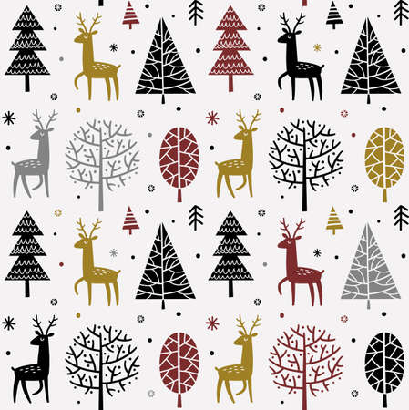 Seamless pattern Christmas forest Çizim