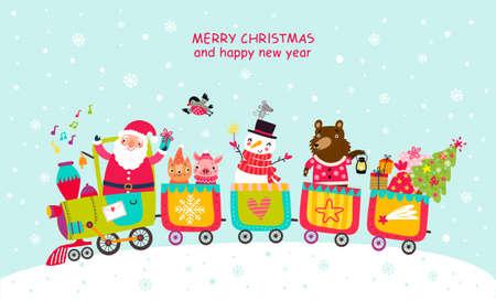 Wesoła kartka świąteczna z pociągiem Ilustracje wektorowe