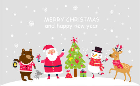 Christmas card with Santa and animals Çizim