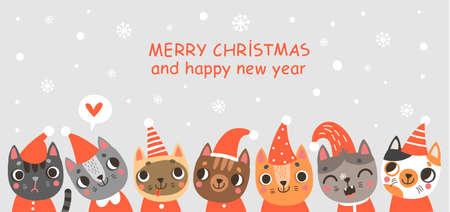 Carte de Noël avec chat