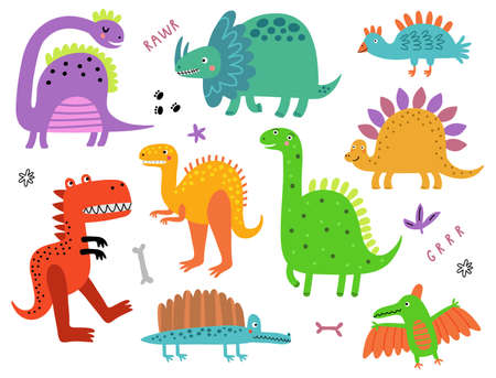 Dinosaurs collection Ilustração Vetorial