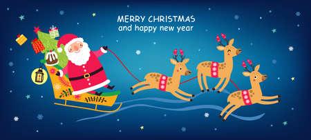 Weihnachtskarte mit Weihnachtsmann und Hirschen Vektorgrafik