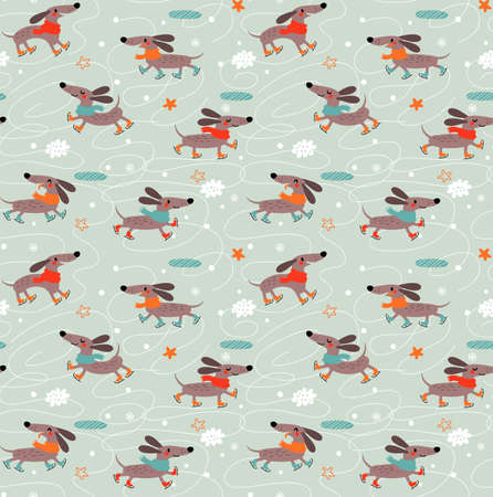 Seamless pattern with dogs 스톡 콘텐츠 - 125805510
