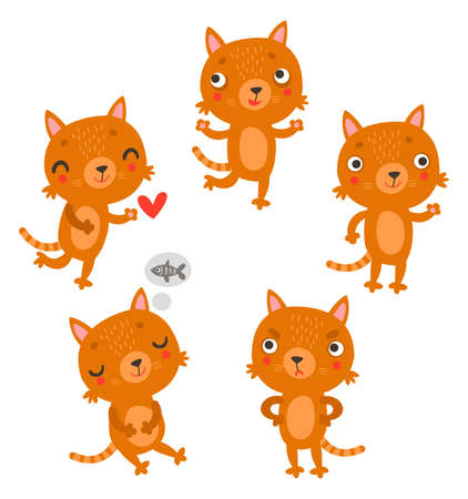 Cute cats. Vector characters set Çizim