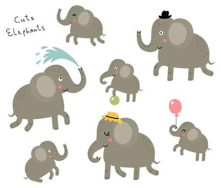 Elephant family vector set