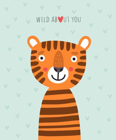 Cute tiger vector card Illustration