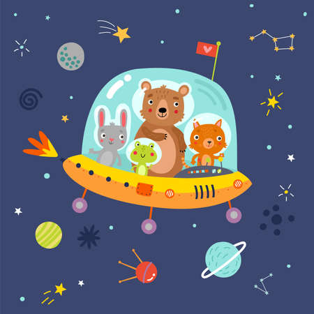 Space. cute animals in space Illustration