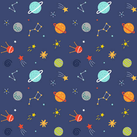Modello senza cuciture spaziale con pianeti e stelle