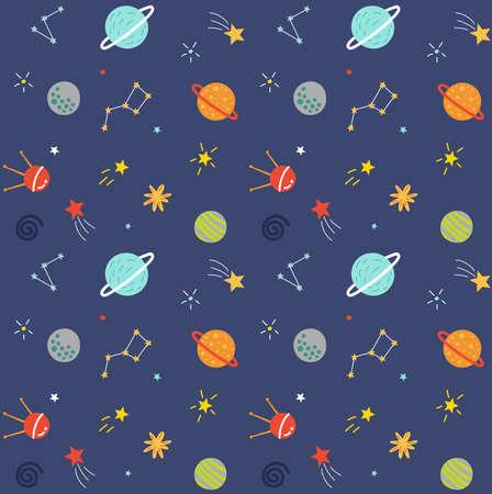 Patrón sin fisuras de espacio con planetas y estrellas