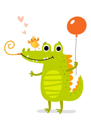 Cute Crocodile. Vector illustration.