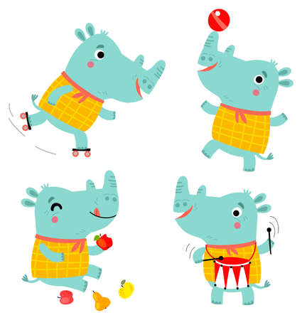 Cute rhino 向量圖像