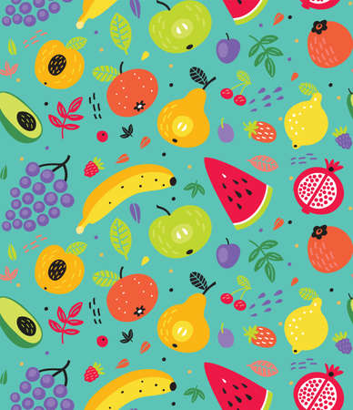 Seamless pattern with fruits 向量圖像