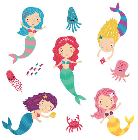 Mermaid character set Çizim