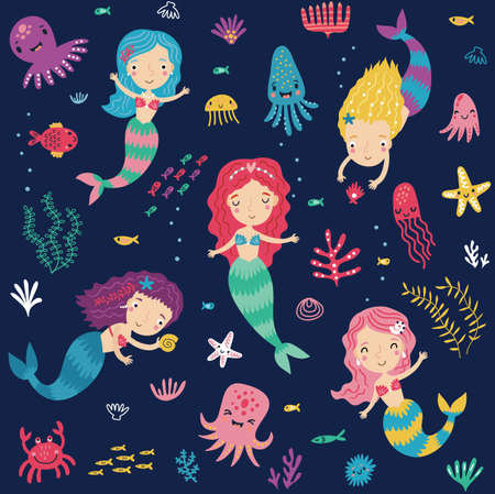 Seamless pattern with mermaids and the sea Archivio Fotografico - 135300869