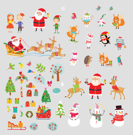 Christmas holidays collection vector set Çizim