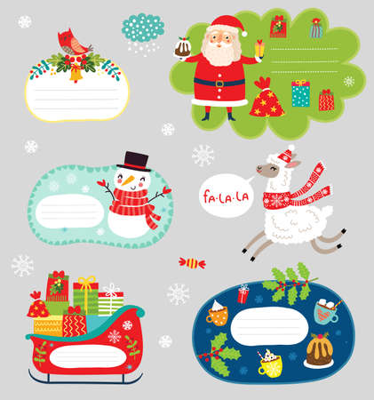 Christmas holiday sticker collection Çizim