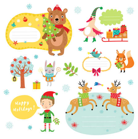 Christmas stickers characters set