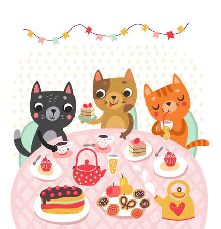 Cute cat in the teapot. Funny illustration. Tea time