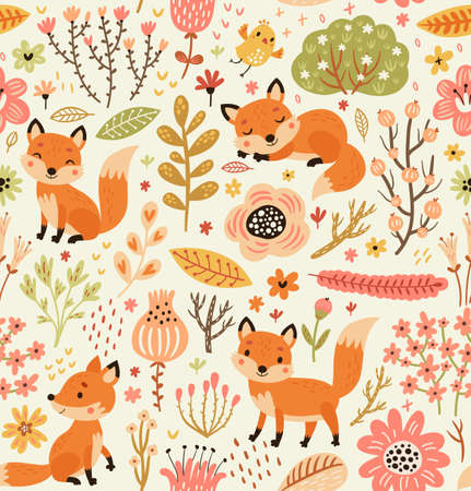 Forest seamless pattern with foxes and flowers. Ilustración de vector
