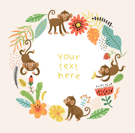 Background with Cute and funny monkeys