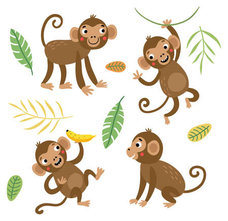 Cute and funny monkeys. Vettoriali