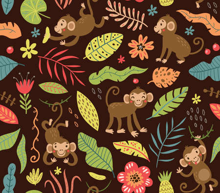 Seamless pattern with cute monkeys in the jungle.