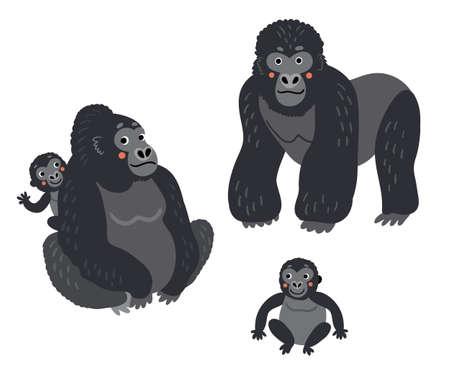 Gorilla Family  monkeys set. Cute illustration