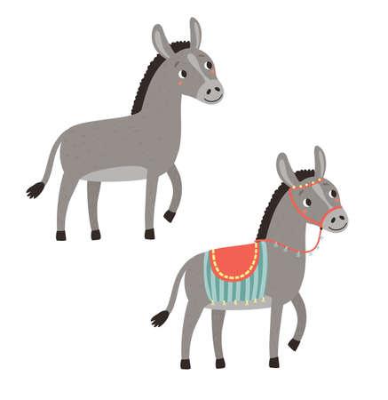 Donkeys. Vector farm animals