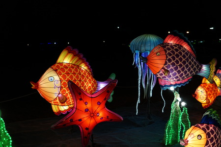Chinese lantern festival. Some big bright swimming fishes. Zdjęcie Seryjne