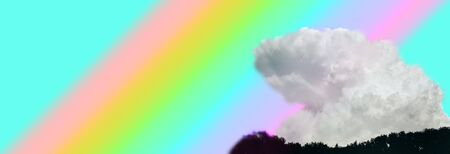 Banner with big white cloud on background of rainbow colors.