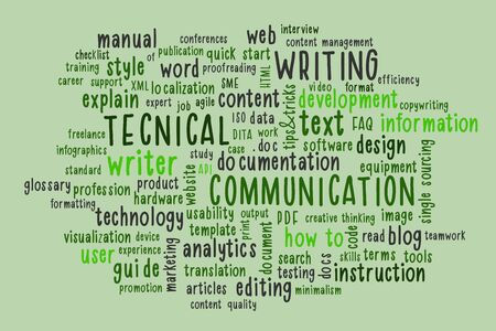 Technical writing word cloud. Techical writer or communicator, documentation, profession concept in trendy mint color. Illustration. Banque d'images - 136790972