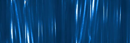 Banner. Abstract background with blue string lights. Banque d'images