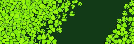 Pattern of green clovers or shamrocks on green background. St. Patrick's Day Holiday concept. Banner with place for text.