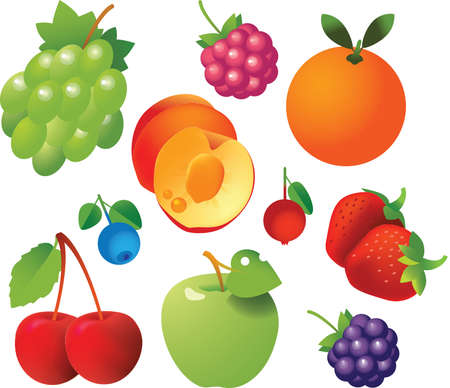 10 sweet ripe fruits and berries in one file: Grape, cherry, blueberry, strawberry, raspberry, apple, orange, peach and cranberry. Fresh and tasty. Vector
