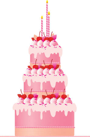 A festive pink cake with candles,  cherries, meringues and cream decoration set against a white background. A great wedding cake or birthday cake.