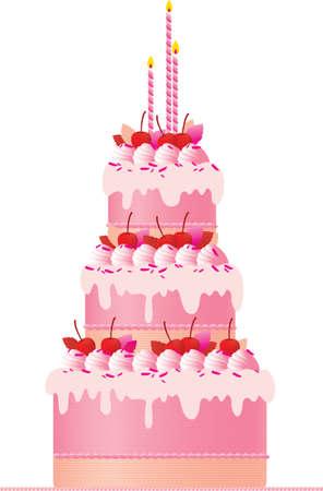 torta candeline: Una torta rosa festa con le candele, le ciliegie, meringhe e la decorazione di crema su uno sfondo bianco. Una grande torta di nozze o torta di compleanno.