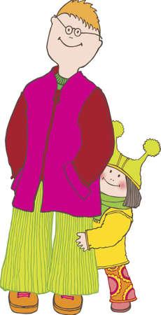 big brother: Little Girl is Hugging her Big Brother Illustration