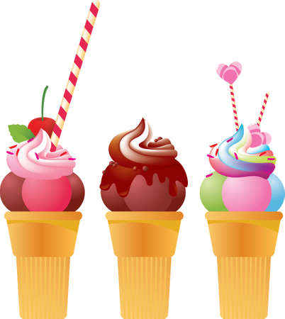 cream colored: 3 festive multi-coloured ice creames decorated with cherries chocolate. A great birthday dessert.
