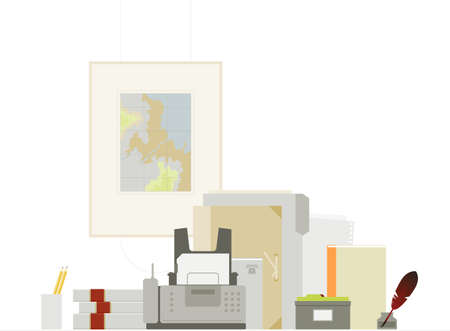 Office things and fax. Fully editable. Each object can be easily taken out of the composition and used separately. Vector