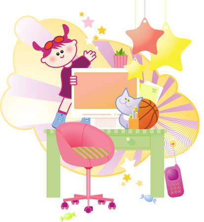 istruzione: Happy cute bambina che salta e balla sul suo computer da tavola.
