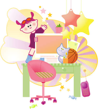 Happy cute little girl jumping and dancing on her computer table.  Vector