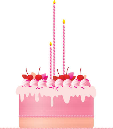 meringue: A festive pink cake with candles,  cherries, meringues and cream decoration set against a white background. A great wedding cake or birthday cake.