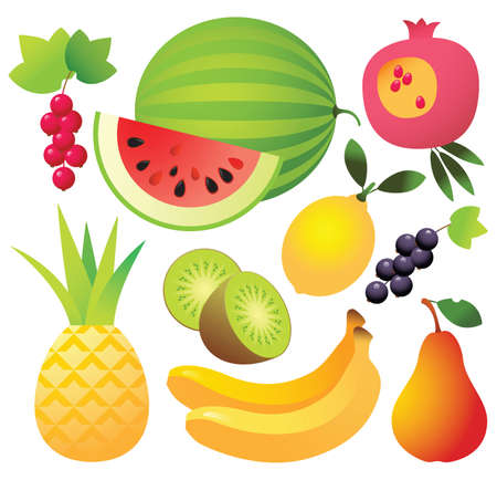 9 sweet ripe fruits and berries in one file: watermelon; lemon; pear; kiwi; banana; pomegranate; red currants; black currants; Isolated On White