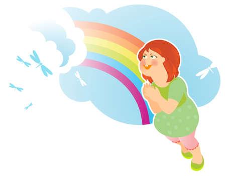Summer Girl With Rainbow Vector